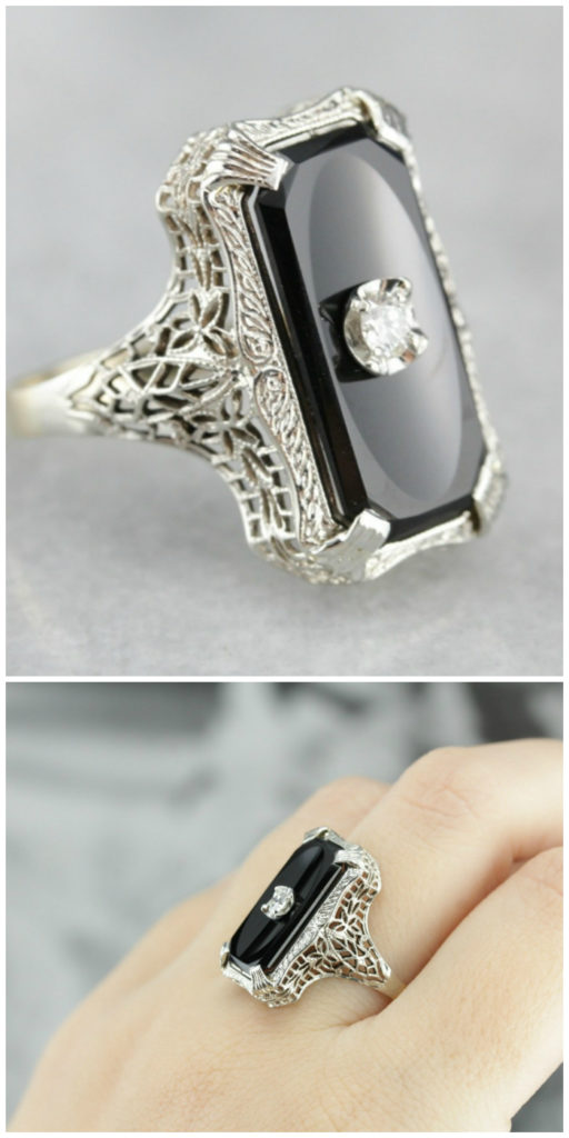 An incredible antique Art Deco era ring from Market Square Jewelers.
