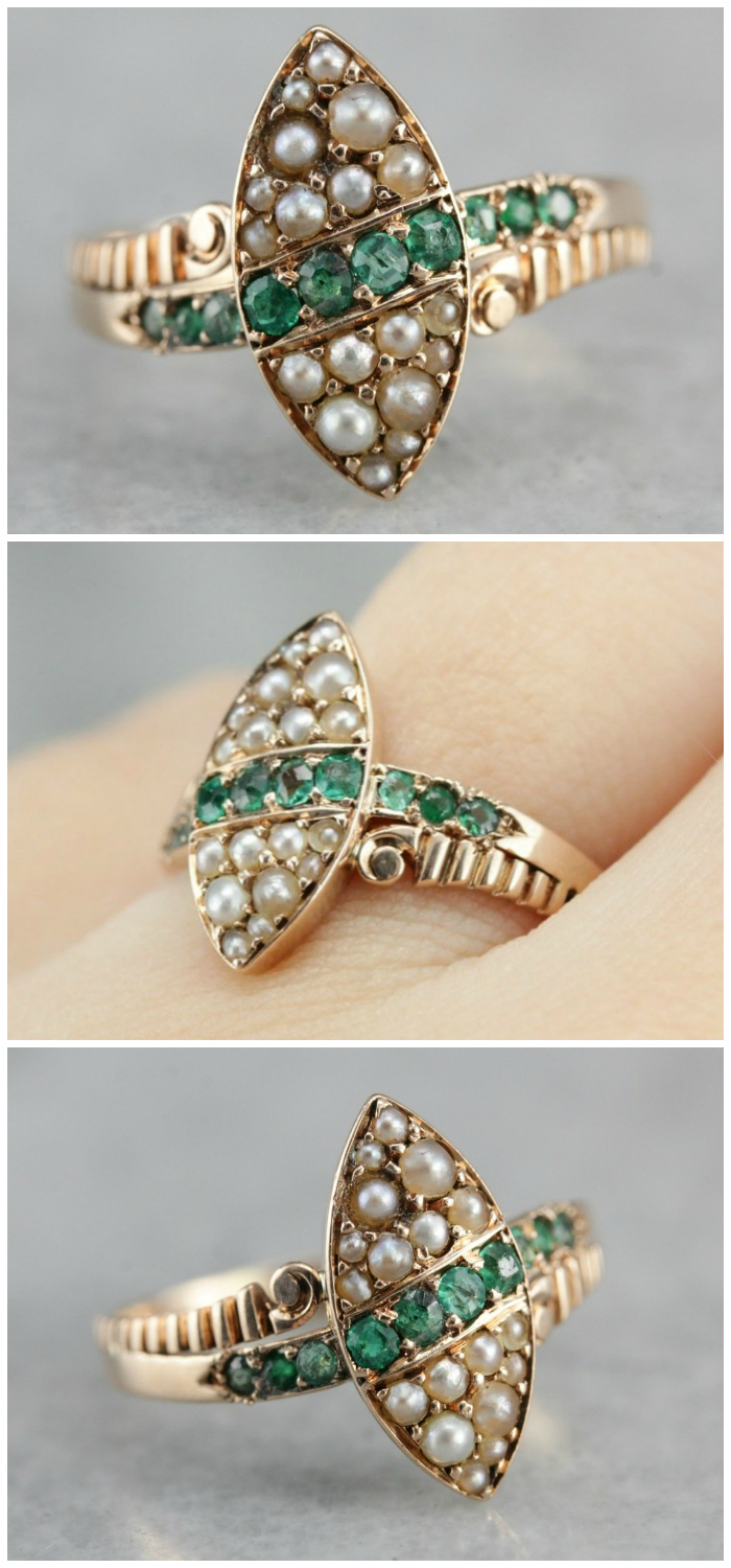 A lovely antique Victorian era ring with emeralds and pearls. From Market Square Jewelers.