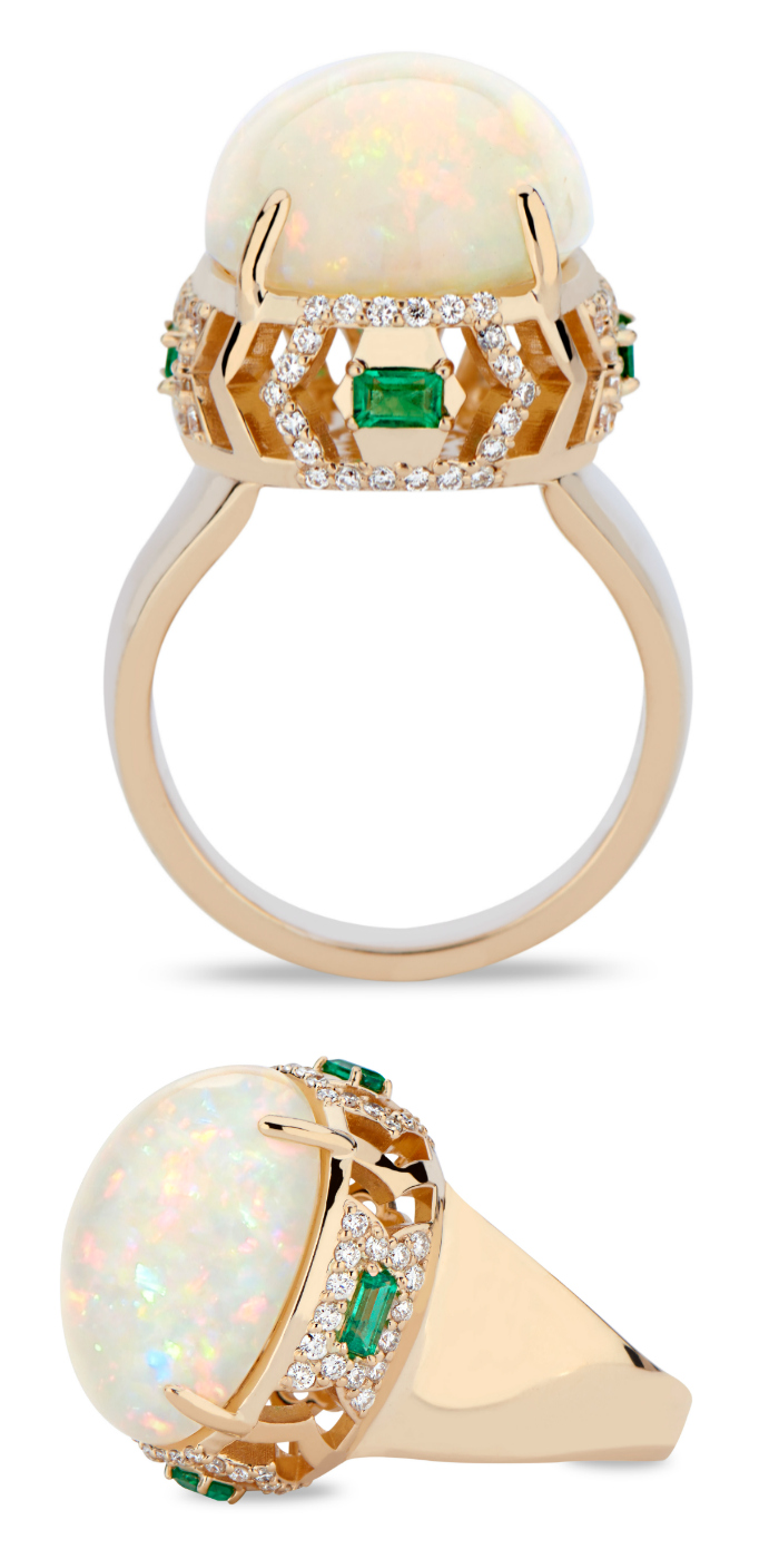 A stunning opal, emerald, and diamond ring by GiGi Ferranti.