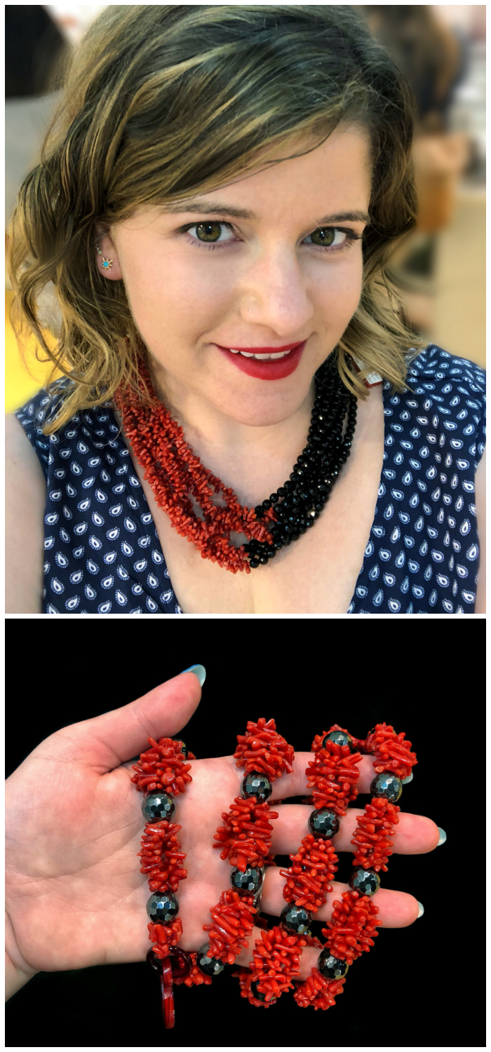Coral and hematite necklace by Rajola! Coral is traditional in Italian jewelry design, and Rajola's designs are a wonderful example.