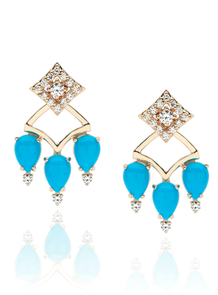 I love these GiGi Ferranti earrings! Diamonds and turquoise in gold.