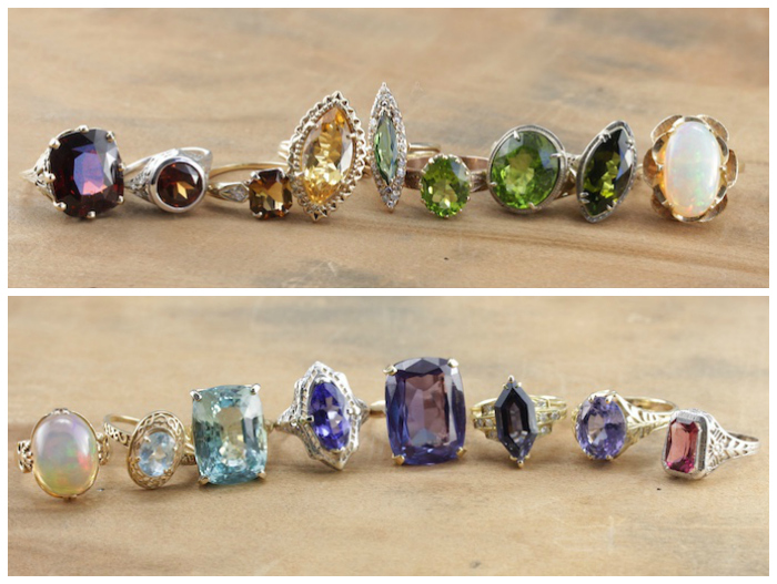 Stunning gemstone rings from Market Square Jewelers! This store has the most incredible selection.