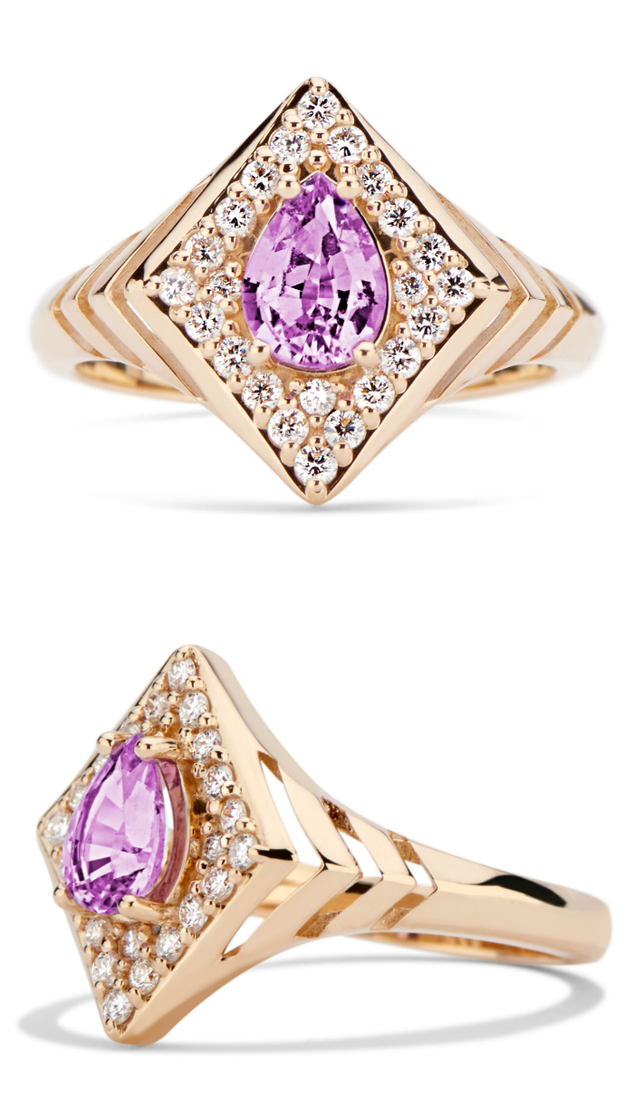 The beautiful Regalo signet ring by GiGi Ferranti! With a purple sapphire in rose gold with diamonds.