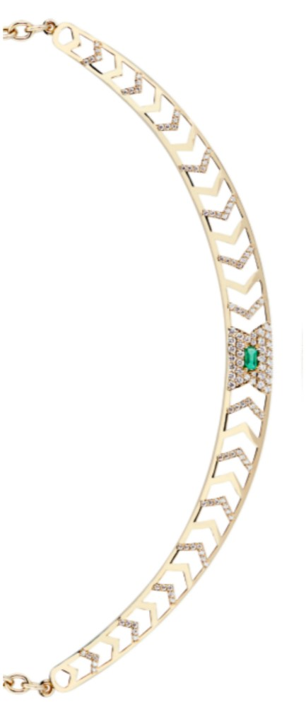 The glorious Gia Deco necklace by GiGi Ferranti! With emerald and diamonds in gold.