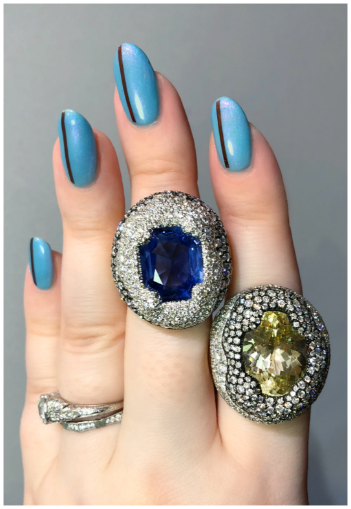 Two beautiful gemstone and diamond rings by Antonini Milano! One of the extraordinary Italian jewelry brands I saw in Las Vegas!