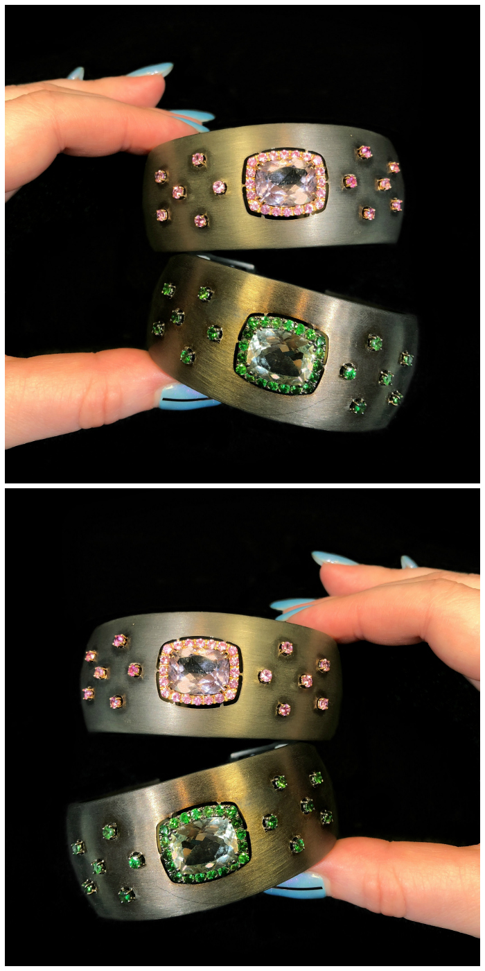 Two beautiful gemstone cuff bracelets by A & Furst!! One of the Extraordinary Italian jewelry brands I saw in Las Vegas.