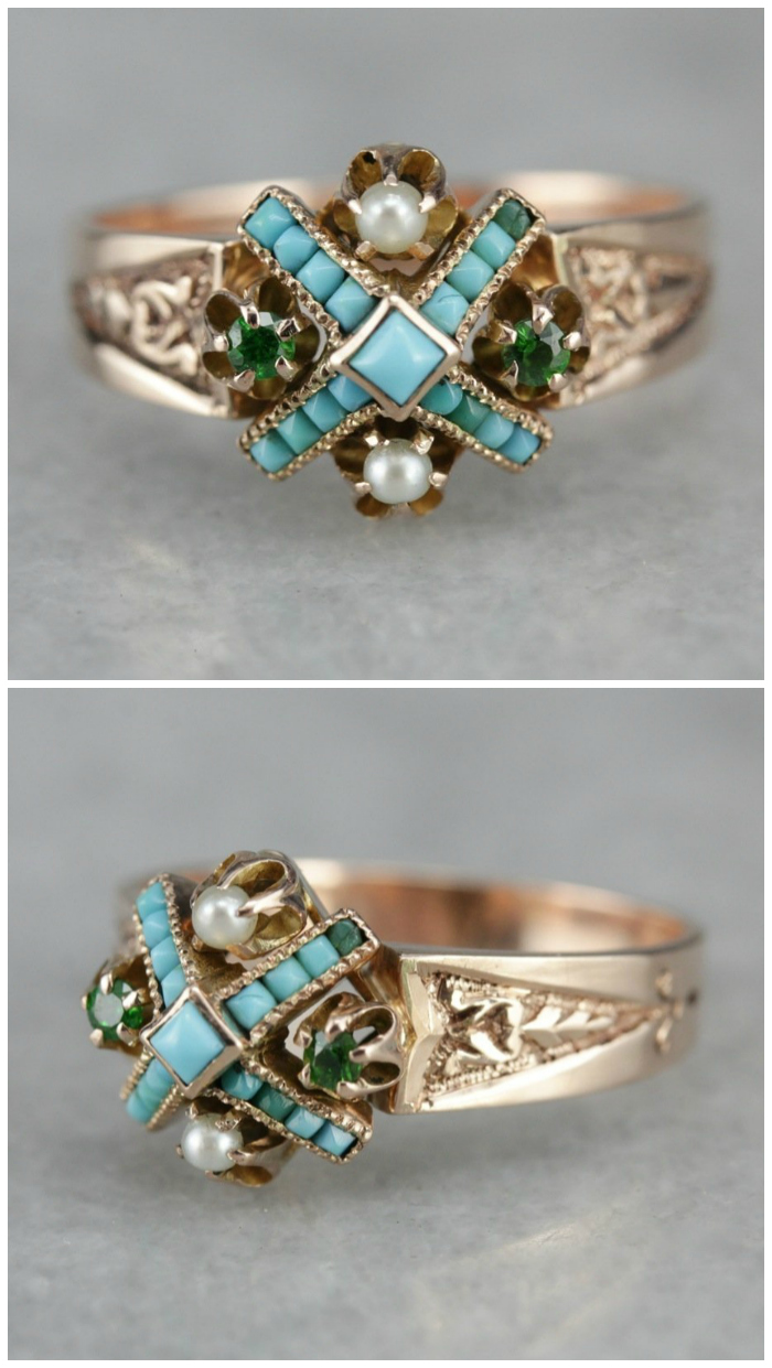 Victorian Turquoise, Garnet, and Seed Pearl Ring from Market Square Jewelers.