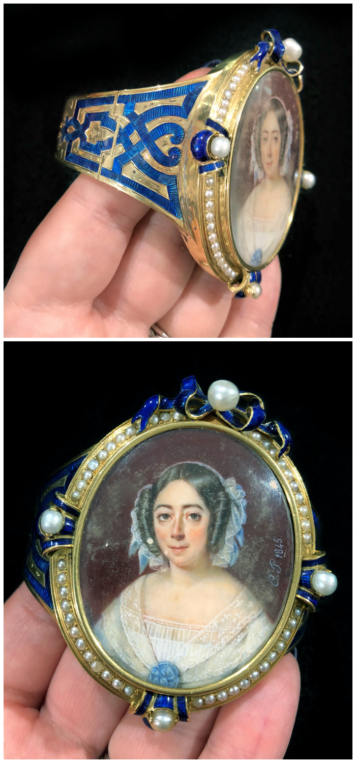 An incredible antique portrait bracelet with pearl and enamel details! Spotted at Lucy Verity at the Miami Antique Show.