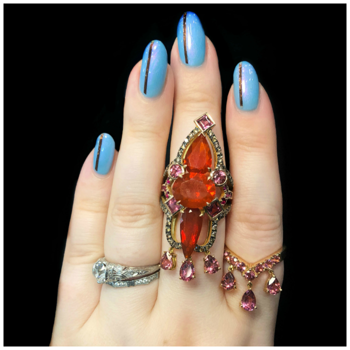 Two ridiculously beautiful rings by M. Spalten Jewelry! Fire opals and pink tourmaline.