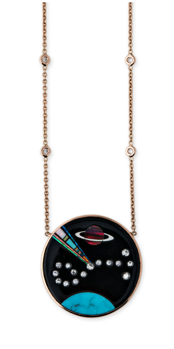 A gemstone inlay pendant from Jacquie Aiche's Galaxy collection! Turquoise, opal, diamonds, and more.