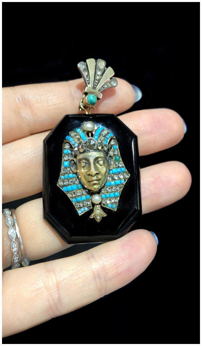 A glorious antique Egyptian Revival locket!! With turquoise and pearls. Spotted at Maryanntiques.