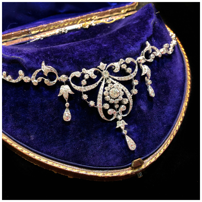A glorious antique diamond necklace from Spicer Warin. Edwardian era and beautiful!!