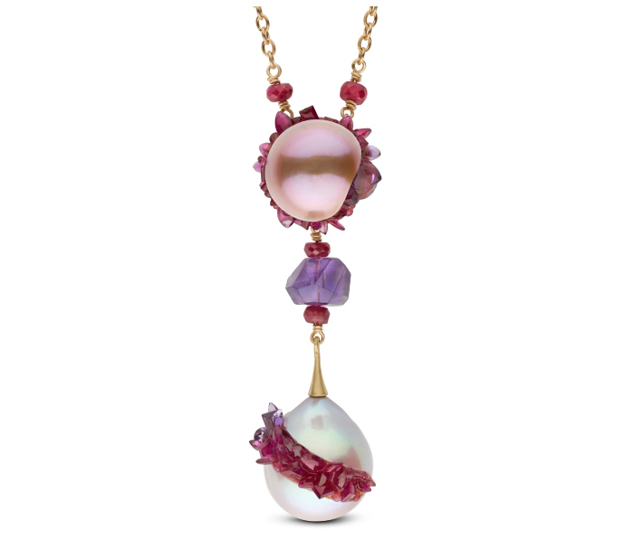 An incredible necklace from the little h spiral collection, with pearls, amethyst, and ruby.