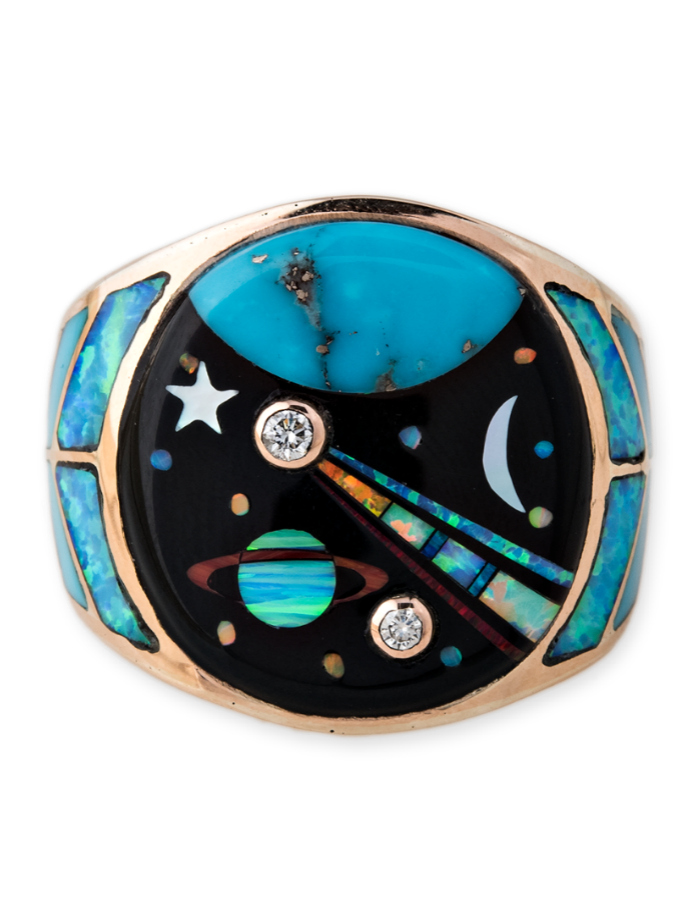 Gemstone inlay ring from Jacquie Aiche's Galaxy collection! Turquoise, opal, diamonds, and more.
