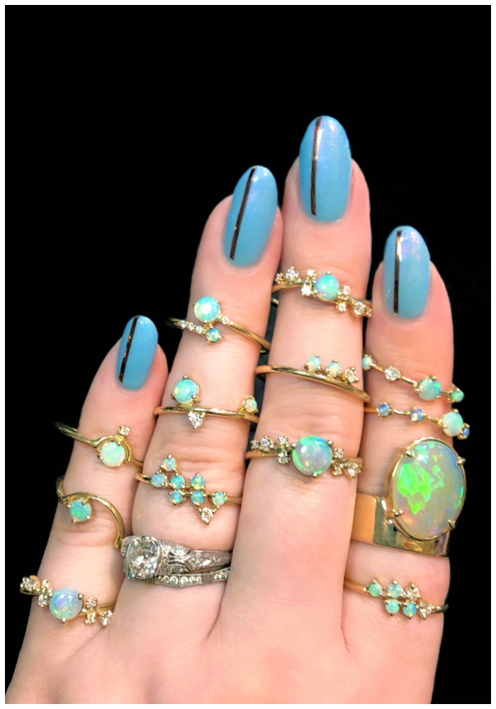 I love every single one of these beautiful opal and diamond rings by Wwake!