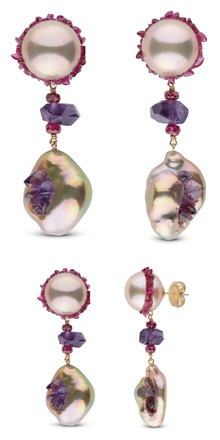 Pearl earrings with ruby and amethyst, from the little h spiral collecton.
