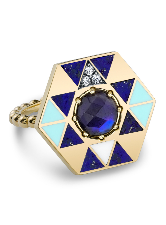 The Harwell Godfrey Aura Air ring in 18k gold with lapis, onyx, diamonds and labradorite.
