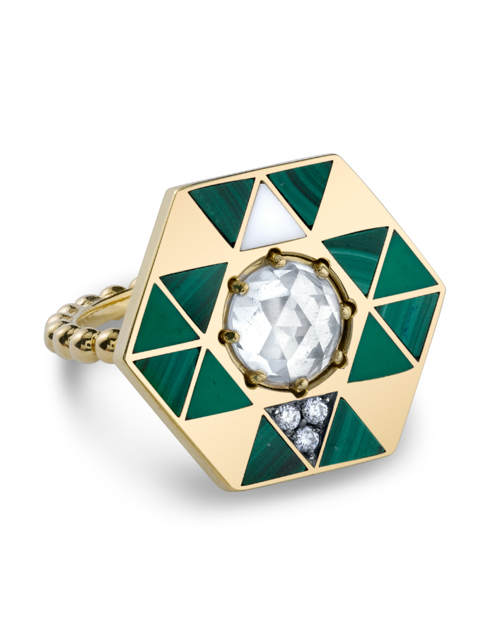 The Harwell Godfrey Mata Earth ring in 18k gold with malachite, onyx, enamel and a rose cut quartz.