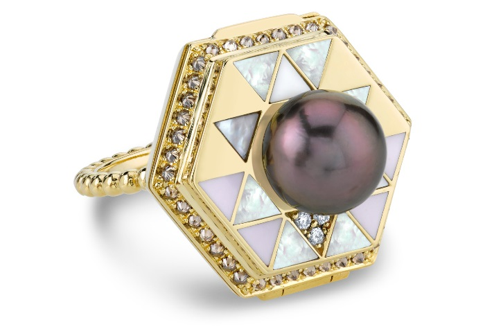 The Harwell Godfrey Vida Water poison ring! This ring has a secret. Inlaid with mother of pearl and other gems.