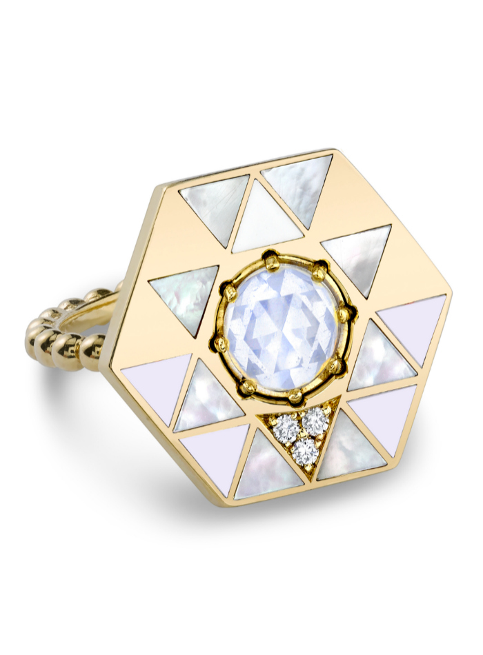 The Harwell Godfrey Vida Water ring in 18k gold with mother of pearl, enamel and a rose cut moonstone.