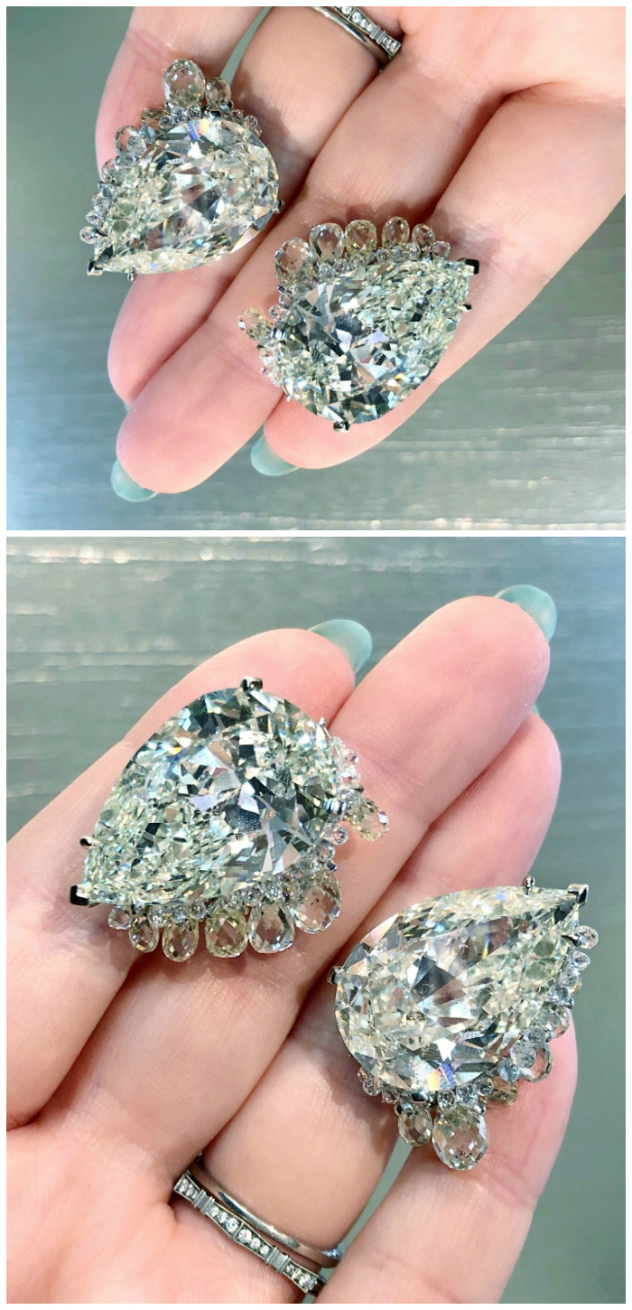 The most incredible diamond earrings! Those pear cuts are 25 carats each. From Fred Leighton.