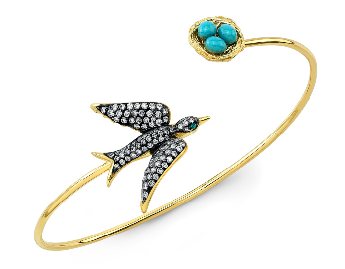 This beautiful bird bracelet from Lord Jewelry features diamonds and pretty blue enamel eggs.