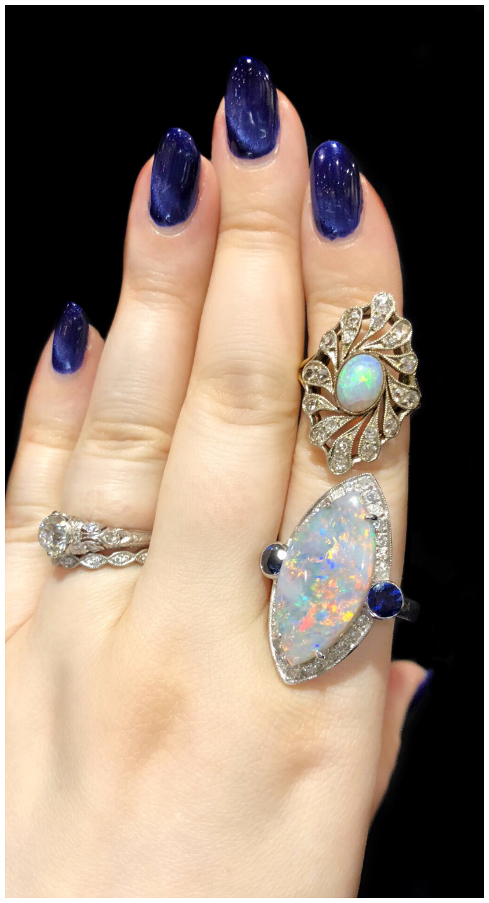 Two glorious opal and diamond rings from Maryanntiques! One antique, one new, both beautiful.