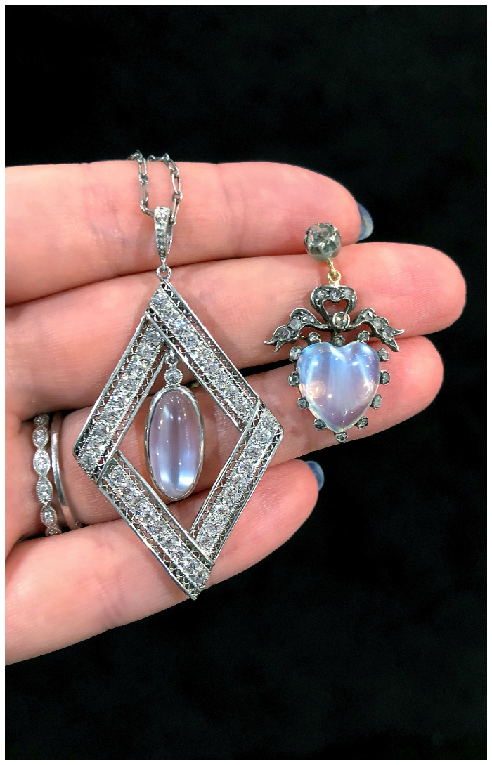 Two stunning antique moonstone pendant necklaces spotted at Roy Rover!