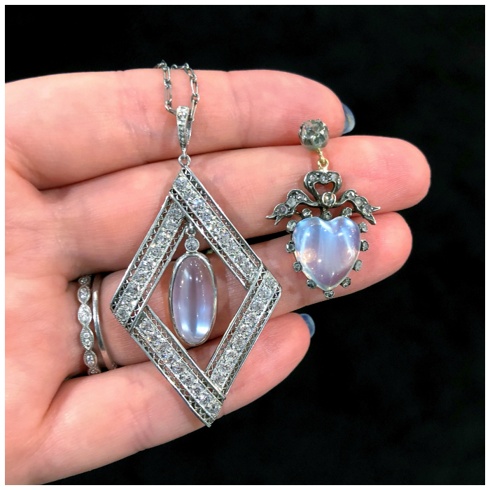 Two stunning antique moonstone pendants spotted at Roy Rover!