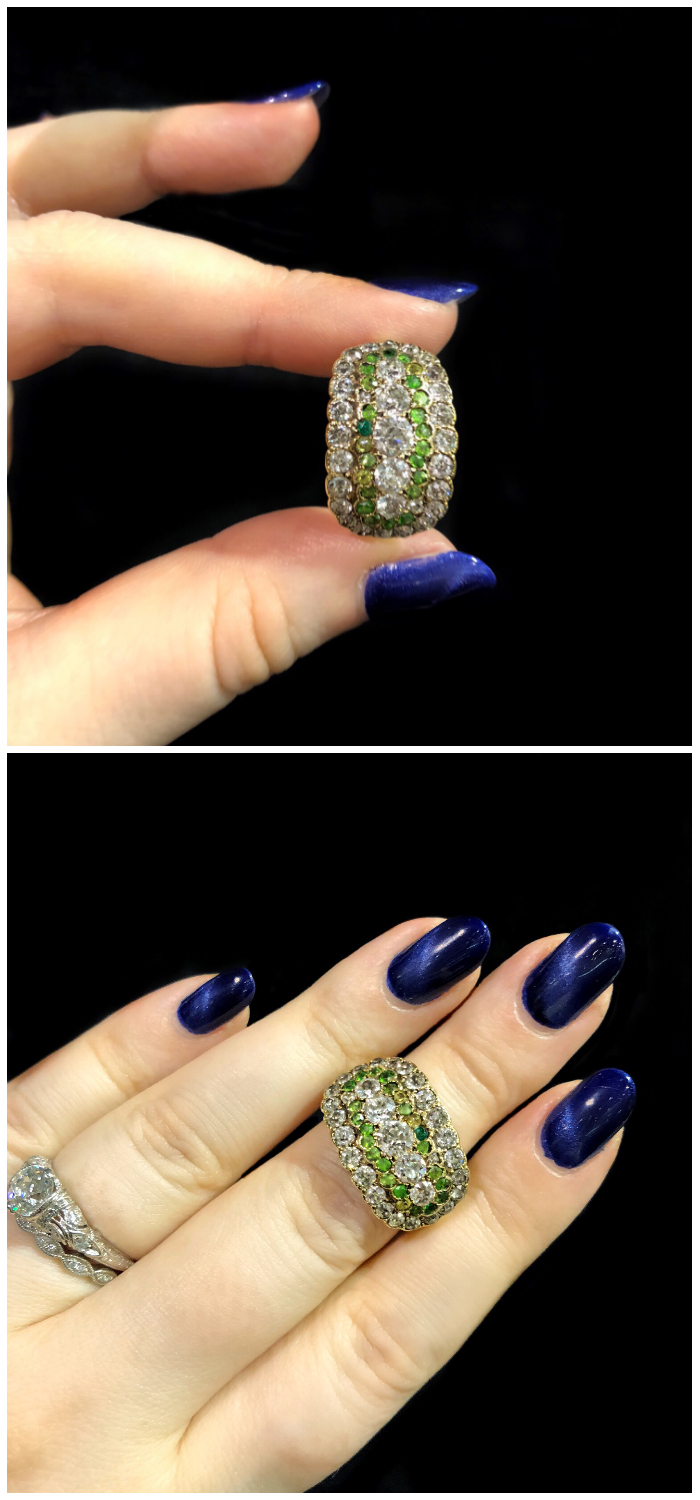 A fantastic antique demantoid garnet and diamond rings from Maryantiques.
