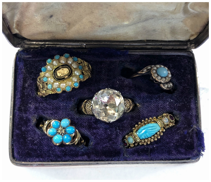A tiny antique box filled with Georgian and Victorian era antique rings from The Spare Room.