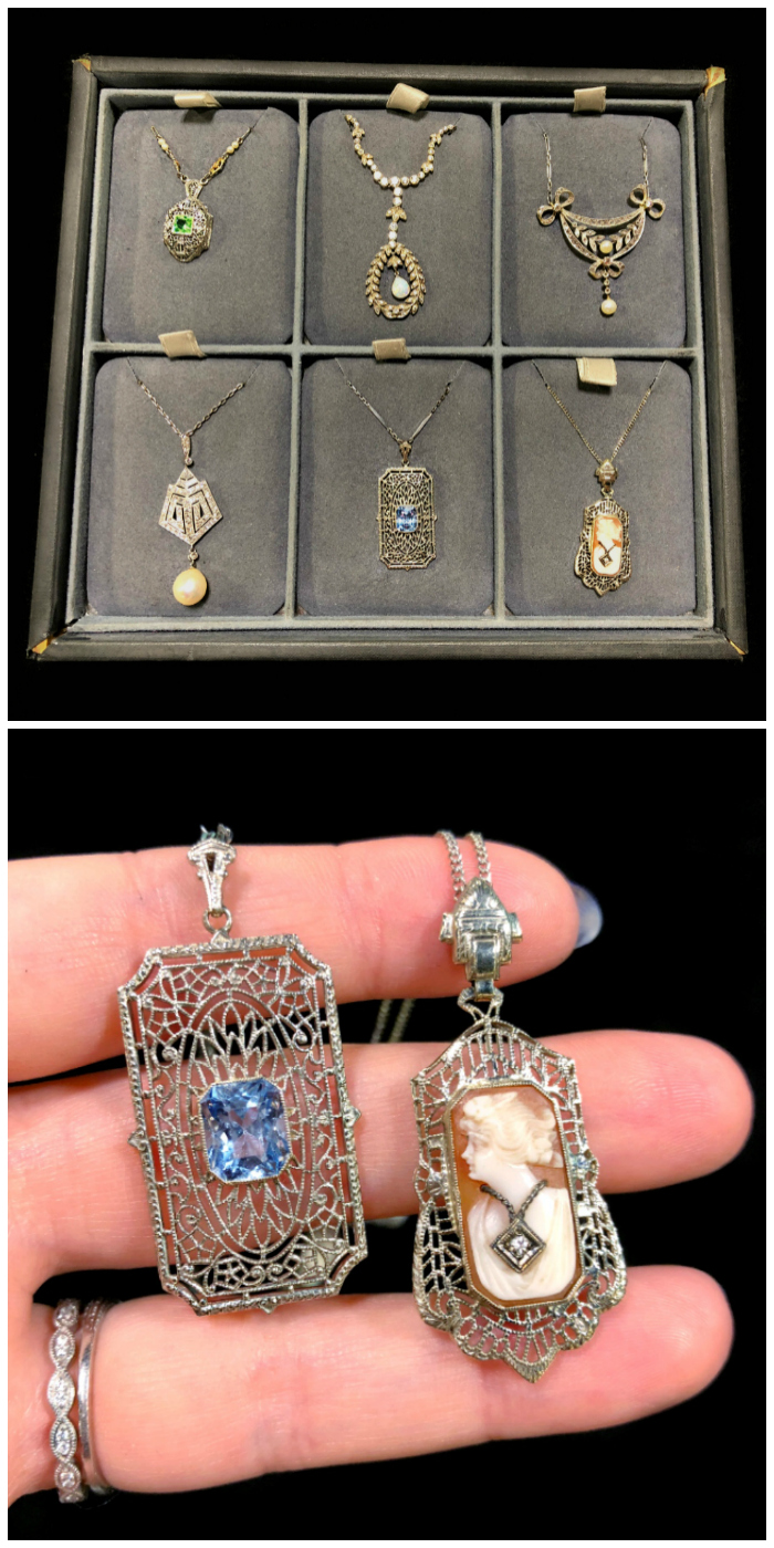 Beautiful antique necklaces from The Gold Hatpin! Pearls, diamonds, sapphires, and a cameo in filigree.