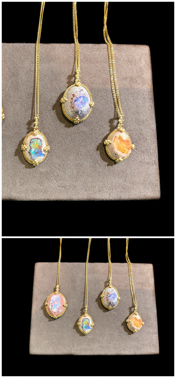 Four beautiful Mexican opal necklaces by Amali Jewelry.