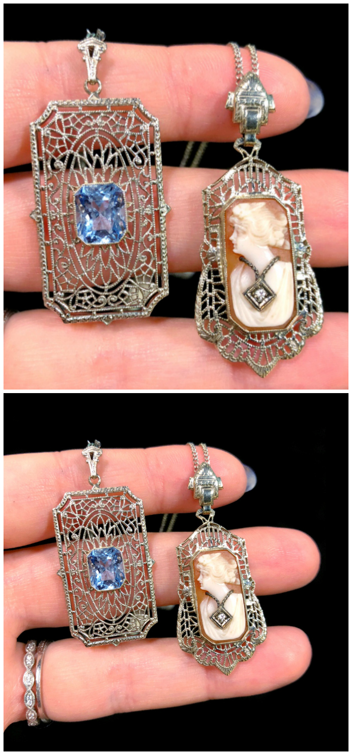 Two beautiful antique necklaces from The Gold Hatpin, one sapphire and one cameo in delicate filigree settings.