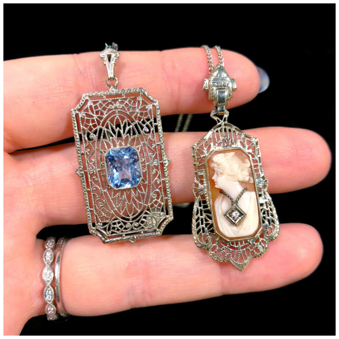 Two beautiful antique necklaces from The Gold Hatpin, one sapphire and one cameo.