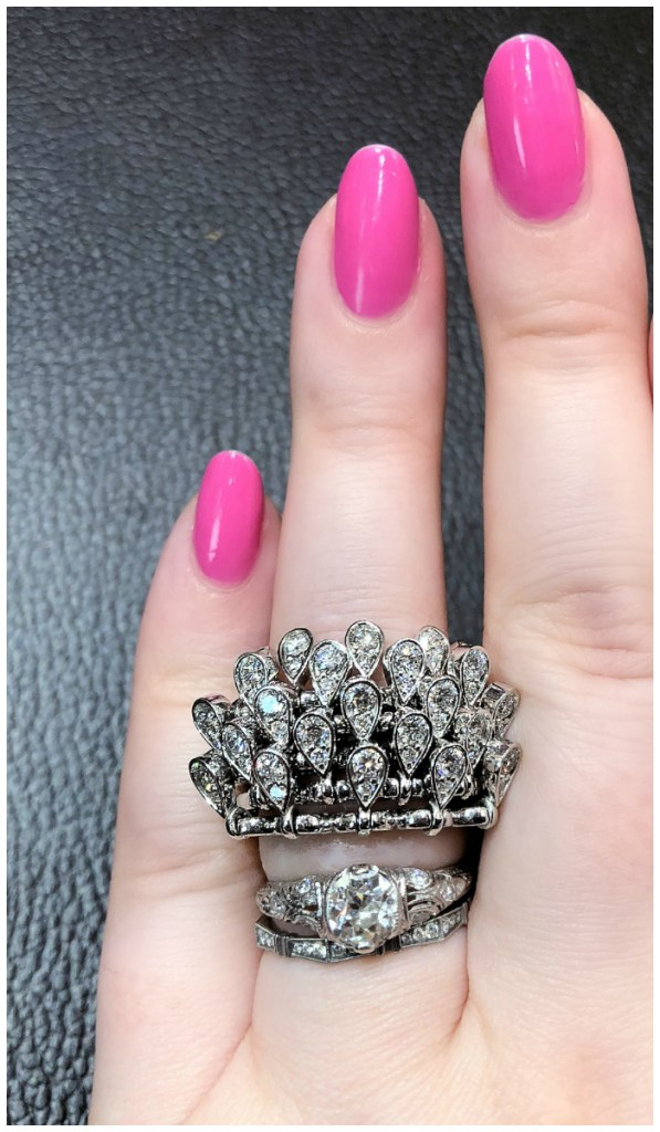 A glorious, movable ring by Ferrari Firenze!! Those diamond drops can flip up or down.