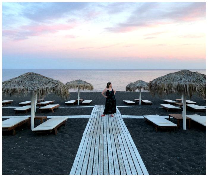 At Perissa, the black sand beach on the Greek island of Santorini.