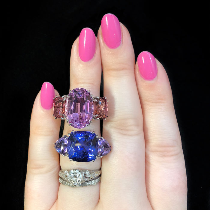 I can't believe the beauty of these Carlo Barberis gemstone rings!! Kunzite with pink tourmaline and tanzanite with amethyst.