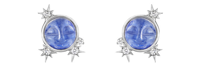 Man in the moon stud earrings by Penny Preville! Carved moonstone with diamonds.