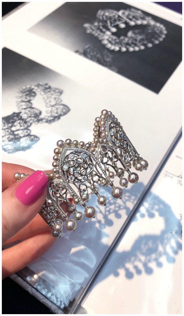 This beautiful pearl and diamond Alessio Boschi bracelet was inspired by the architecture of an Italian city.