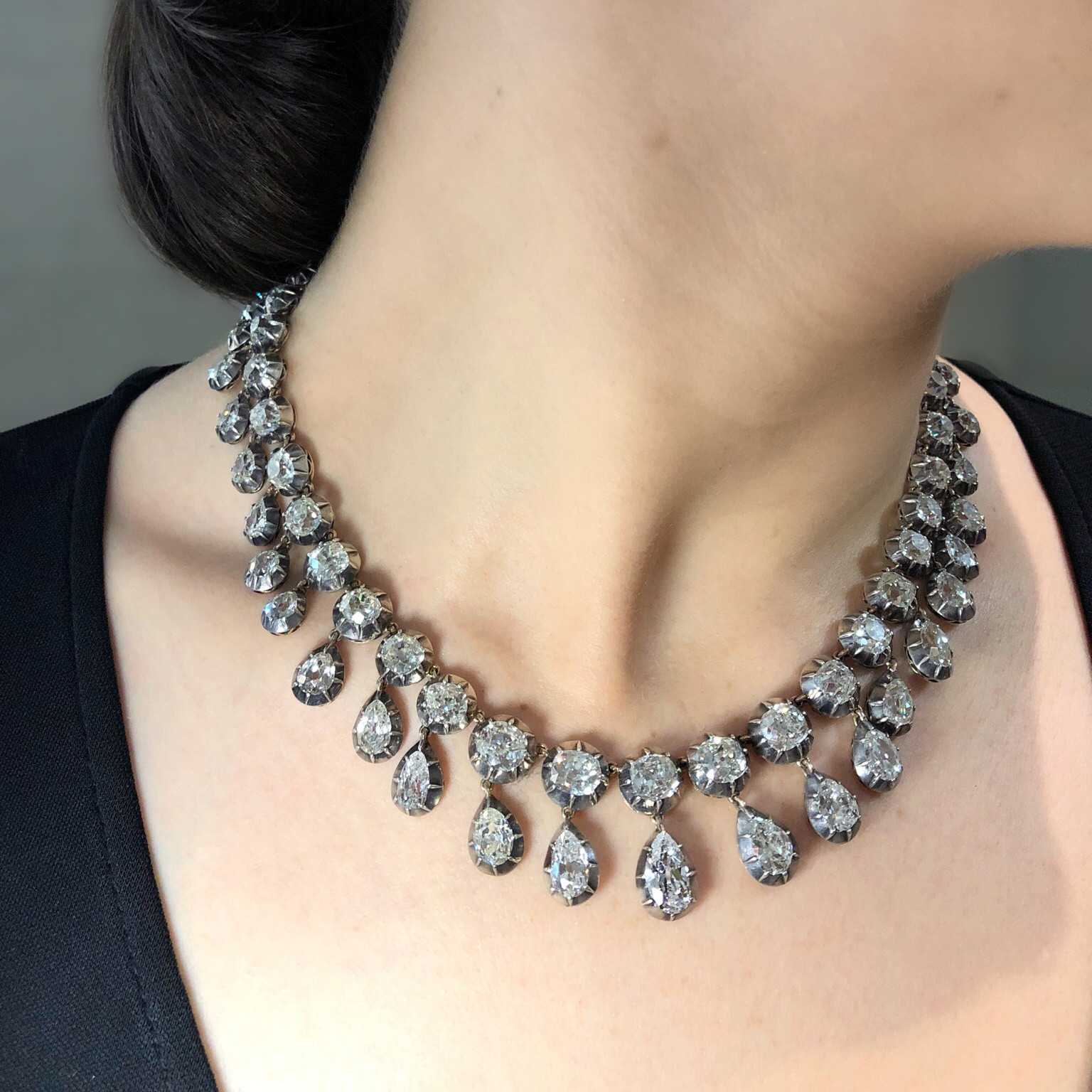 A stunning antique diamond necklace once owned by the royal Bourbon-Parma family. Five of these diamonds belonged to Marie-Antoinette!
