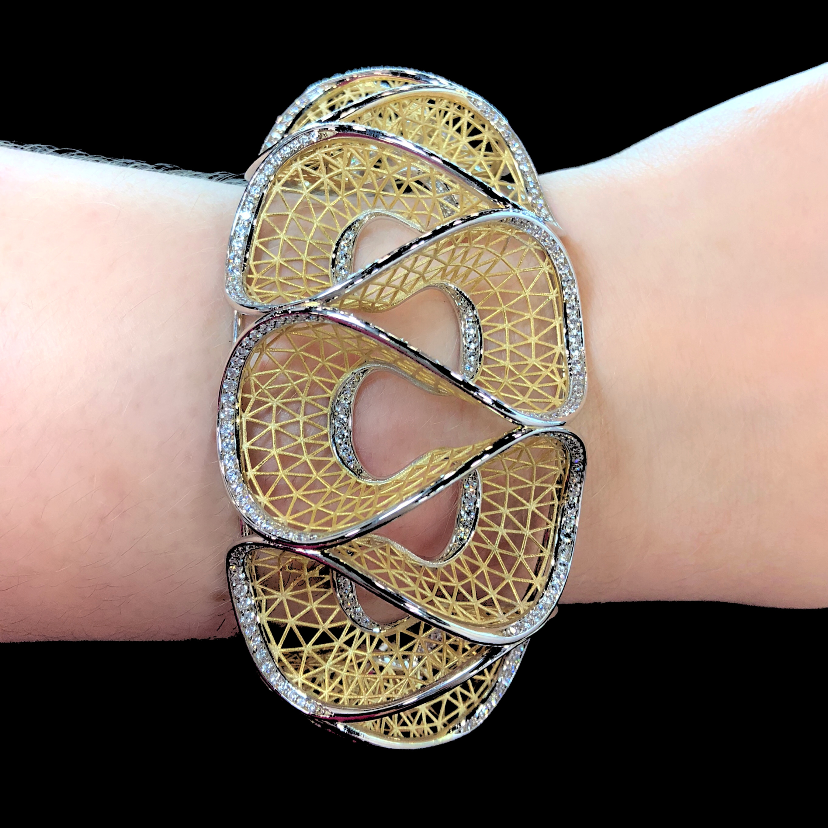 A stunning gold and diamond lace bracelet by Nuovi Gioielli. Spotted in the Italian Pavilion at JIS Miami.