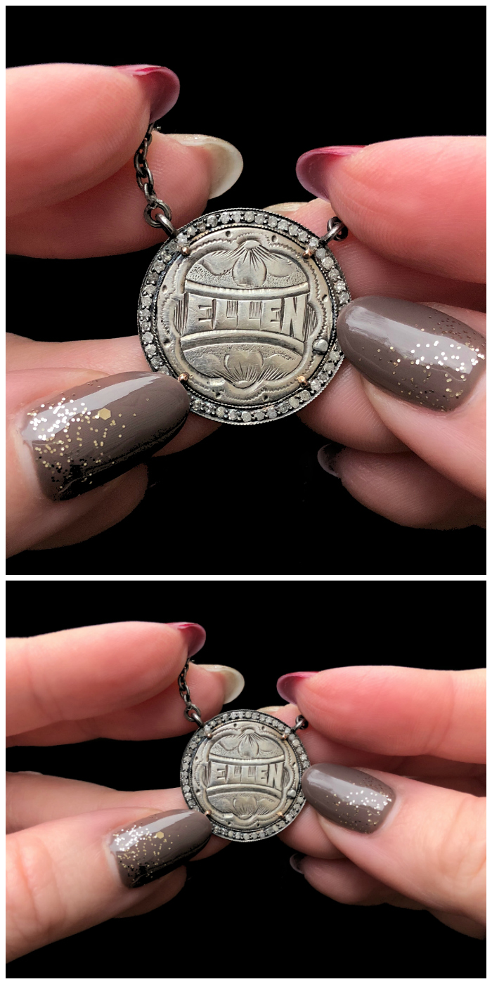 An extraordinary Victorian era love pendant token by Heavenly Vices! This one is engraved with the name 'Ellen' and set with diamonds.