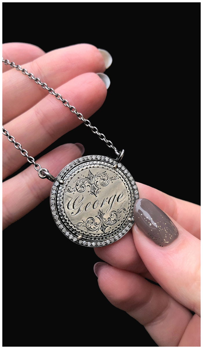An extraordinary Victorian era love pendant token by Heavenly Vices! This one is engraved with the name 'George' and set with diamonds.