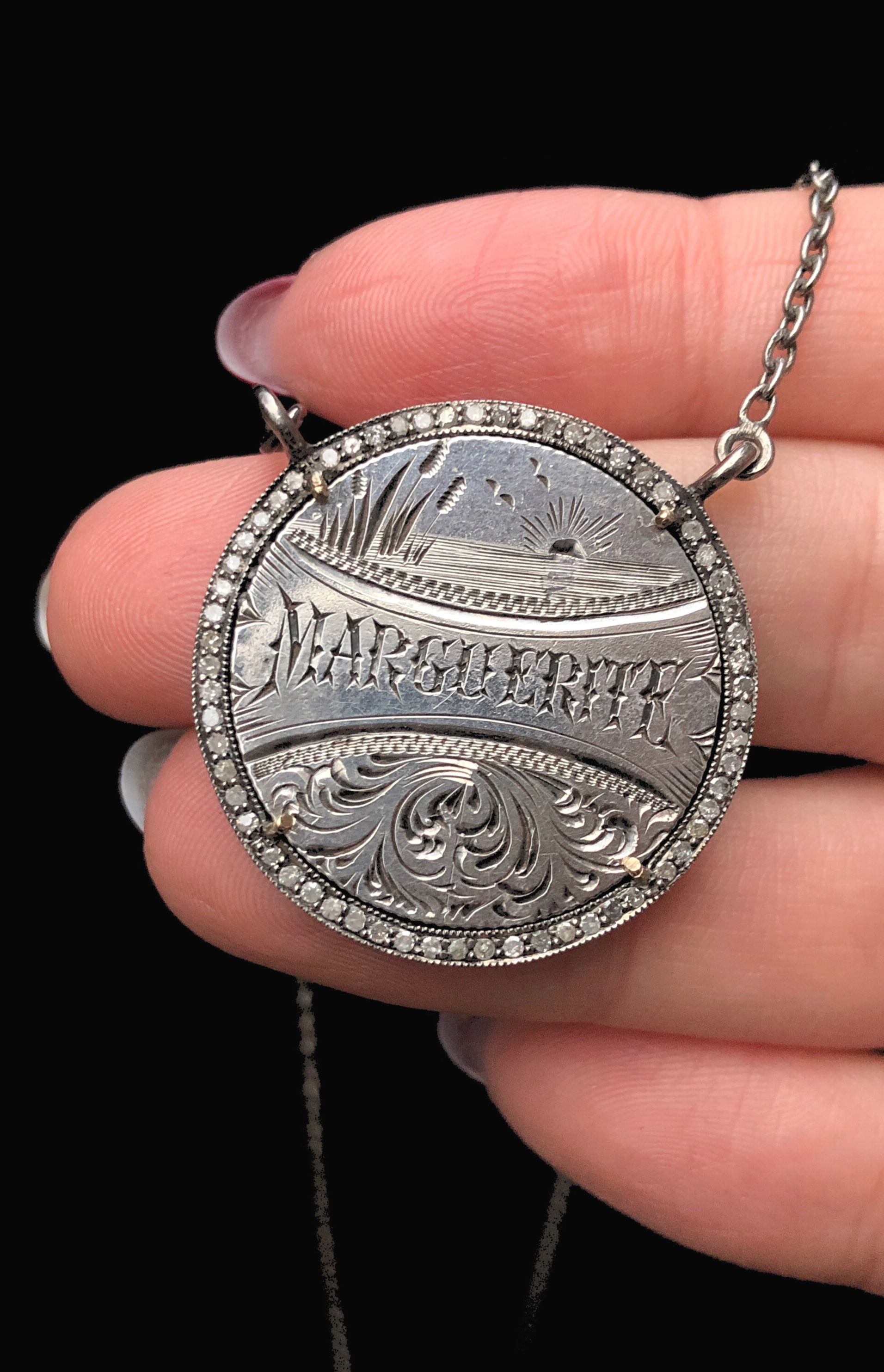 An extraordinary Victorian era love pendant token by Heavenly Vices! This one is engraved with the name 'Marguerite' with diamonds.