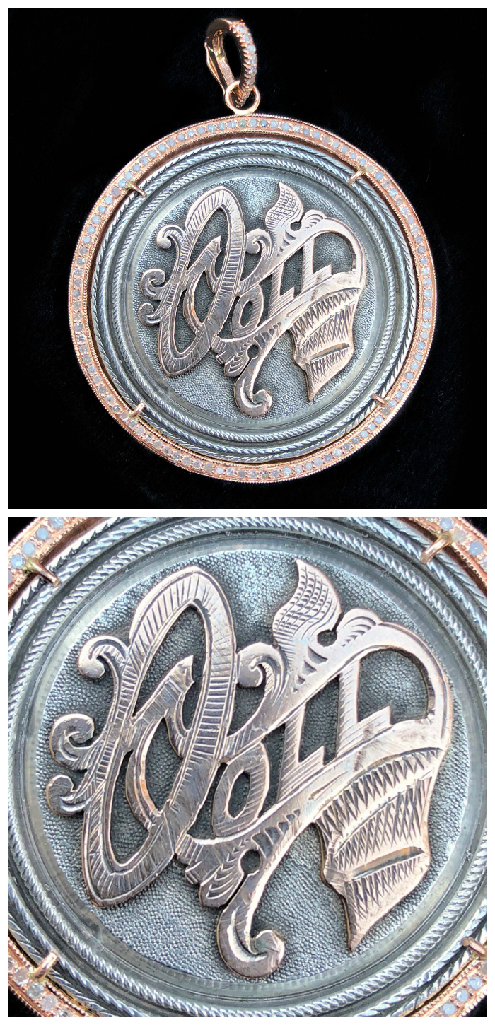 An extraordinary Victorian era love pendant token by Heavenly Vices!! This one says 'Doll,' with rose gold accents.