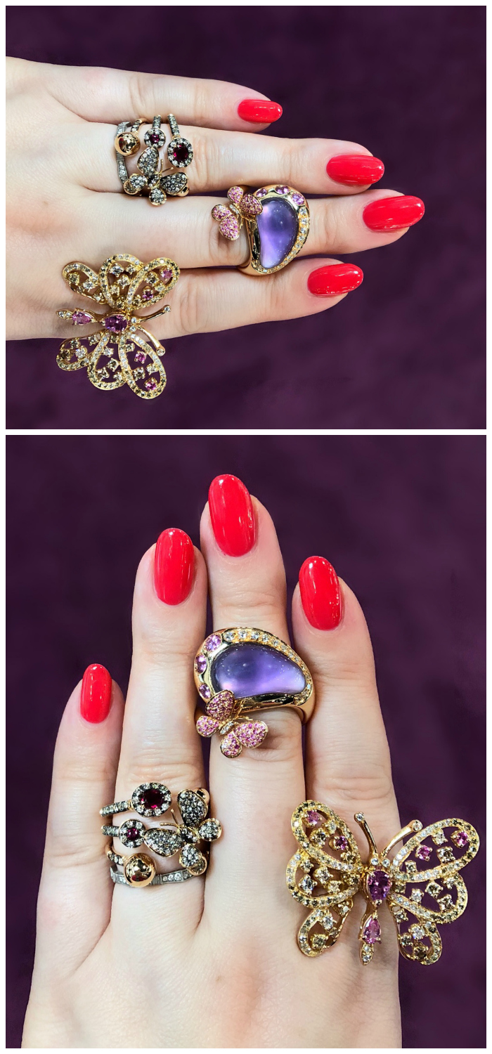 Beautiful butterfly rings by Moraglione 1922! Diamonds, amethyst, rubies and more.