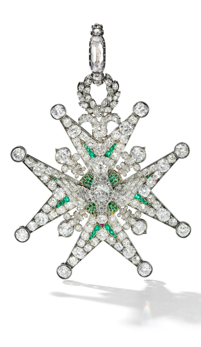 Diamond and emerald order of the Saint-Esprit, first quarter of the 19th century -Sotheby's Geneva 14 Nov 2018