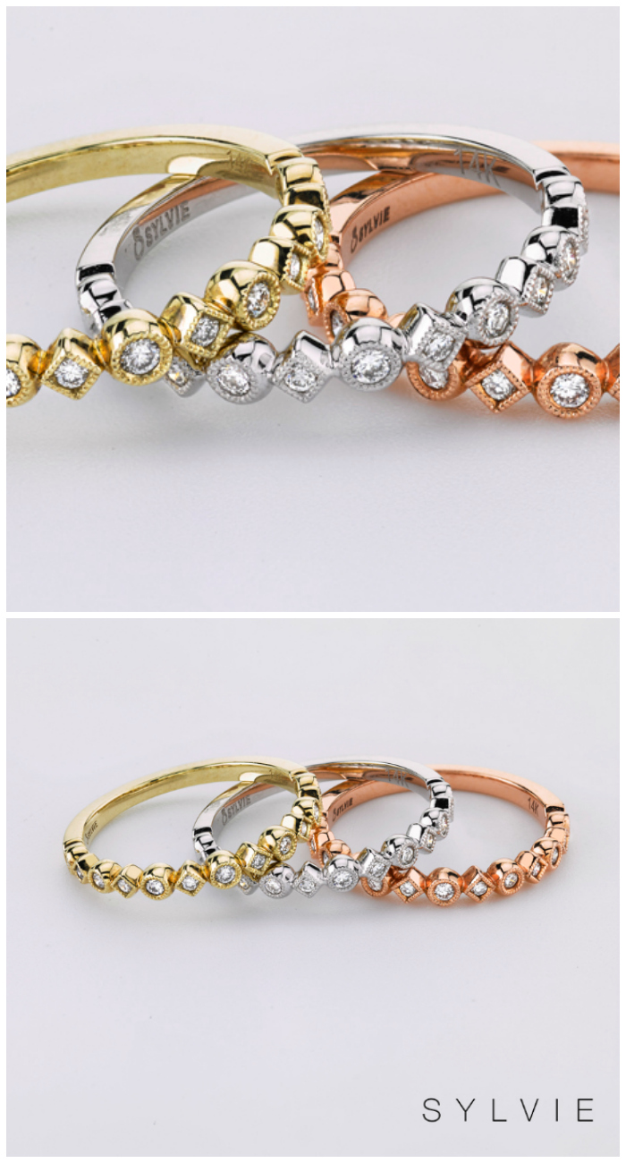 Diamond bands by Sylvie Collection in white, rose and yellow gold! Great as wedding bands or stacking rings. Enter to win one for free!