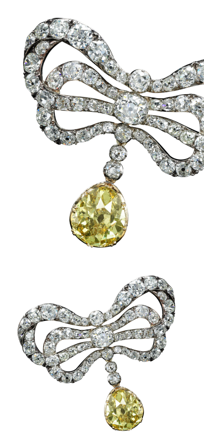 Diamond brooch, second half of the 18th century - this belonged to Marie Antoinette! Yellow diamond added later. Sotheby's Geneva 14 Nov 2018